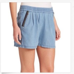 Rebecca Taylor French Blue Silk Twill Shorts